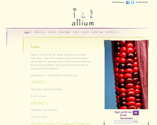 Restaurant website development of Allium